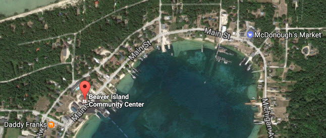 A satellite view of the BIC Center's location on Paradise Bay.